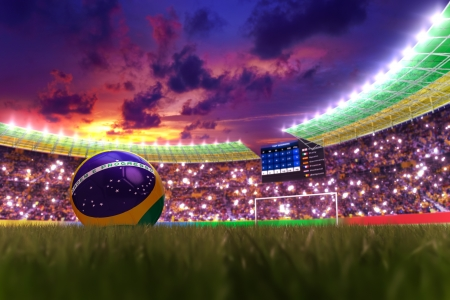 3D rendering of footballs in the year 2014 in a football stadium