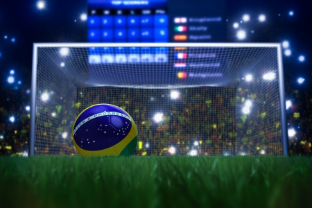 world sport event: 3D rendering of footballs in the year 2014 in a football stadium