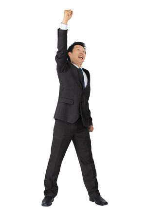 exiting: Isolated asian business man with very exiting posture on white  Stock Photo
