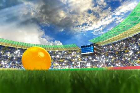 3D rendering of footballs in the year 2014 in a football stadium photo