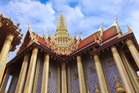 thep: Prasat Phra Thep Bidon  Royal Pantheon  in Wat Phra Kaew Area Stock Photo