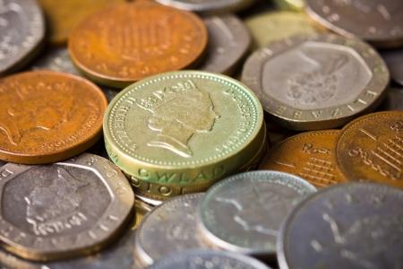 pound coins: Closeup of british pound coins