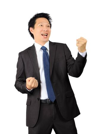 Isolated asian business man over white Stock Photo