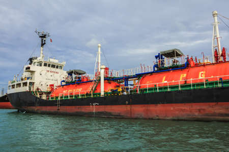 l petrol: LPG ship in Chao Phraya river in Thailand