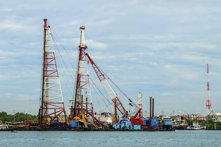 shipbuilder: Shipyard in Chao Phraya river in Thailand Stock Photo