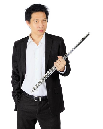 professional flute: Isolated professional flute player on white Stock Photo