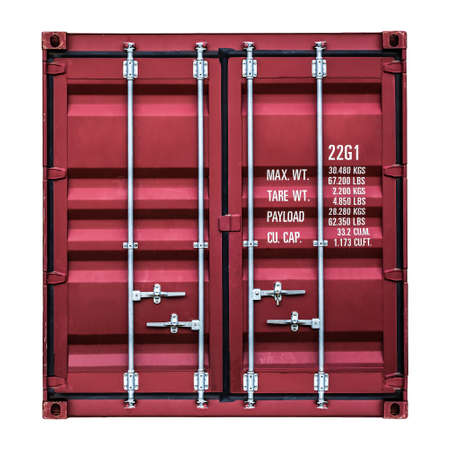cargo container: Isolated front side of a container box on white