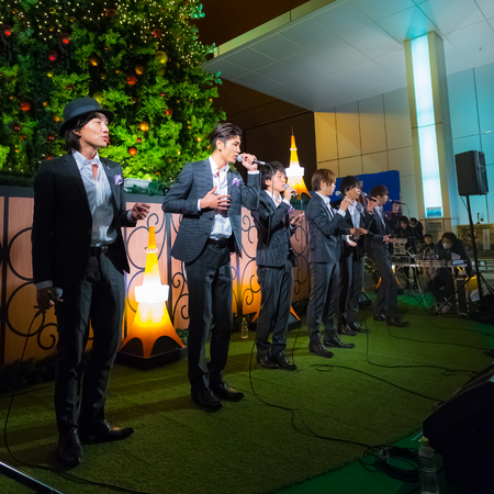 vocals: Tokyo, Japan - November 24 2013  Permanent Fish vocals group performs acappella at Tokyo Tower for the early preparation of the up coming Christmas