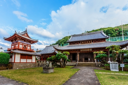 NAGASAKI, JAPAN - NOVEMBER 14: Kofukuji Temple in Nagasaki, Japan on November 14, 2013. Japan's oldest and first Chinese temple of the Obaku sect. It can be traced to the time when the merchants of China's Ming Dynasty