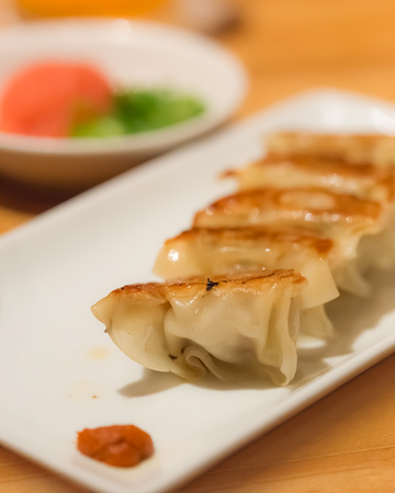gyoza: Homemade Asian pork gyoza on a white plate