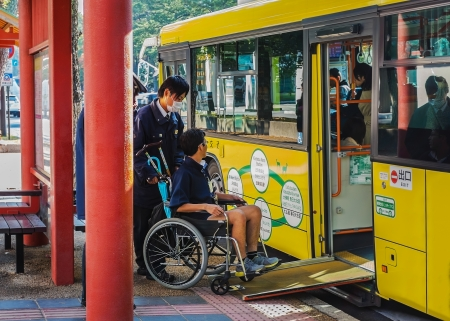 NARA, JAPAN - NOVEMBER 16  Loop Bus in Nara, Japan on November 16, 2013  Provides people and sliding slope from the bus to help handicapped people