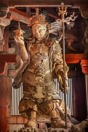 todaiji: Bishamonten - one of the Japanese Seven Gods of Fortune at Todaiji Temple in Nara Editorial
