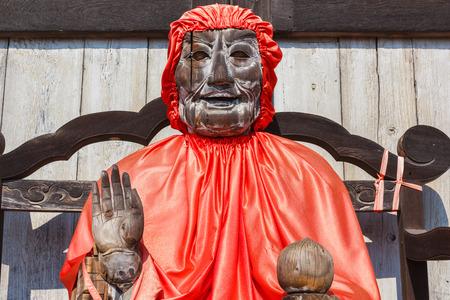 todaiji: Binzuru  the healing Buddha  in front of Todaiji Temple in Nara Editorial