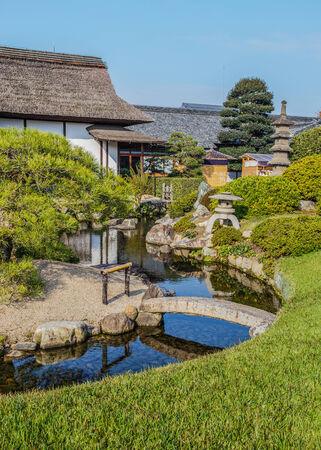 okayama: Enyo-tei House at Korakue-en garden in Okayama Stock Photo