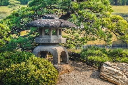 okayama: Stone Lantern at Koraku-en garden in Okayama