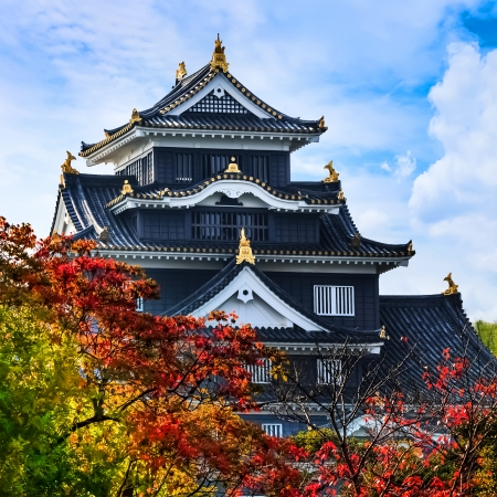 Okayama Castle or Crow Castle in OkayamaOKAYAMA, JAPAN - NOVEMBER 17  Okayama Castle in Okayama, Japan on November 17, 2013  The main tower was completed in 1597, it