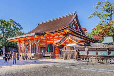 east end: Yasaka shrine in Kyoto, JapanKYOTO, JAPAN - NOVEMBER 18  Yasaka Shrine in Kyoto, Japan on November 18, 2013  Established in 656, situated at the east end of Shijo-d%u014Dri  The Shrine became the object of Imperial patronage during the early Heian period