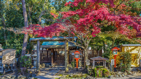 east end: KYOTO, JAPAN - NOVEMBER 18  Yasaka Shrine in Kyoto, Japan on November 18, 2013  Established in 656, situated at the east end of Shijo-d%u014Dri  The Shrine became the object of Imperial patronage during the early Heian period