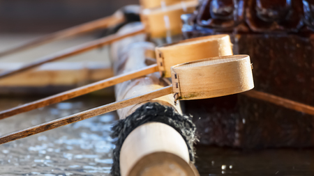 purify: Japanese water dippers at a Japanese temple Stock Photo