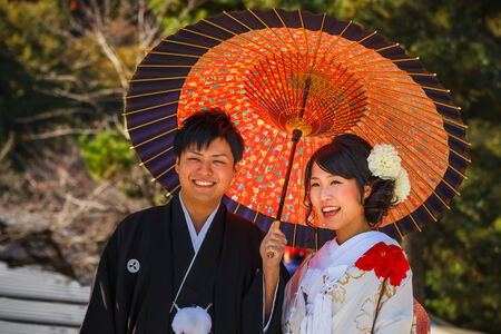 KYOTO, JAPAN - NOVEMBER 19  Japanese Couple in Kyoto, Japan on November 19, 2013  Unidentified groom and bride dress traditional costumes for their wedding ceremony Editorial