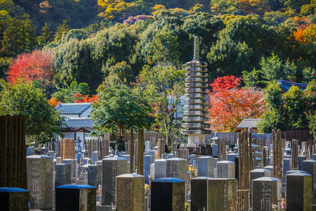 cremated: Japanese cemetery at Arashiyama area in Kyoto KYOTO, JAPAN - NOVEMBER 19  Japanese cemetery in Kyoto, Japan on November 19, 2013  As a Jpanese tradition, after the funeral, bodies are cremated and the ashes placed in urns under the stone column
