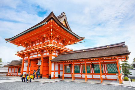 reachable: KyotoKYOTO, JAPAN - NOVEMBER 19  Fushimi Inari-taisha in Kyoto, Japan on November 19, 2013  The main shrine structure was built in 1499, reachable by a path lined with thousands of torii