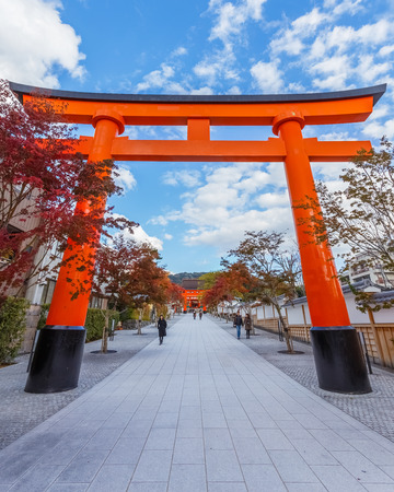 reachable: KYOTO, JAPAN - NOVEMBER 19  Fushimi Inari-taisha in Kyoto, Japan on November 19, 2013  The main shrine structure was built in 1499, reachable by a path lined with thousands of torii