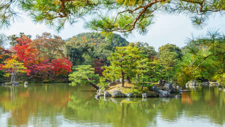 Kyoko-chi or Mirror Pond which contains 10 small islands at Kinkaku-ji temple in Kyoto                                                                                                      Stock Photo - 26788773