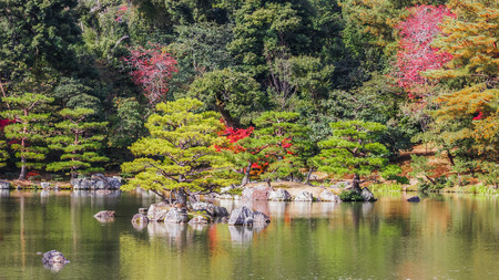 Kyoko-chi or Mirror Pond which contains 10 small islands at Kinkaku-ji temple in Kyoto Stock Photo - 26808011