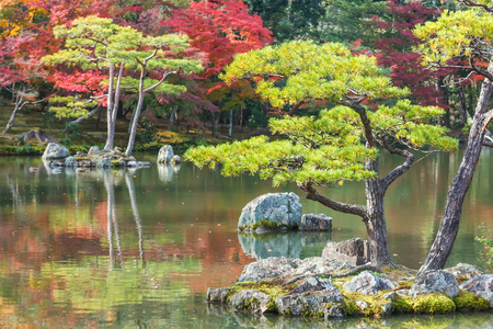 Kyoko-chi or Mirror Pond which contains 10 small islands at Kinkaku-ji temple in Kyoto Stock Photo - 26910107