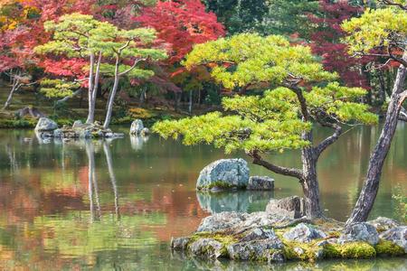 rokuonji: Kyoko-chi or Mirror Pond which contains 10 small islands at Kinkaku-ji temple in Kyoto
