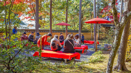 KYOTO, JAPAN - NOVEMBER 20  Tea Garden in Kyoto, Japan on November 20, 2013  A small tea garden at Kinkakuji where people can have matcha tea and sweets  Stock Photo - 26944927