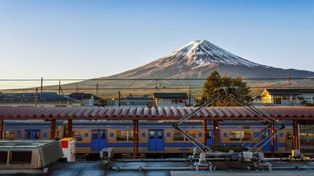 kawaguchi ko: Mt  Fuji at Kawaguchiko Station Editorial