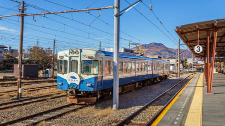 kawaguchi ko: Fujikawaguchiko, Japan - November 22 2013  Fujikyuko Line is the only railway line to the Yamanashi, site of Mount Fuji