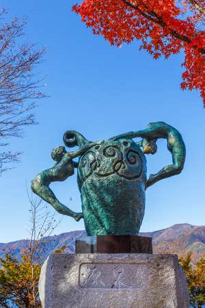 kawaguchi ko: KAWAGUCHIKO, JAPAN - NOVEMBER 22   Source  Statue in Kawaguchiko, Japan on November 22, 2013  By Seibo Kitamura onr of the last finest masterpieces of Japan