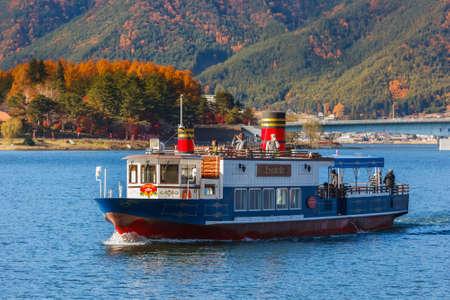 kawaguchi ko: KAWAGUCHIKO, JAPAN - NOVEMBER 22  Touring Boat in Kawaguchiko, Japan on November 22, 2013  Available for tourist  who wants to sail across the lake Kawaguchi Editorial