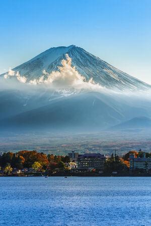kawaguchi ko: Mt  Fuji in  at lake Kawaguchiko  in Japan Stock Photo