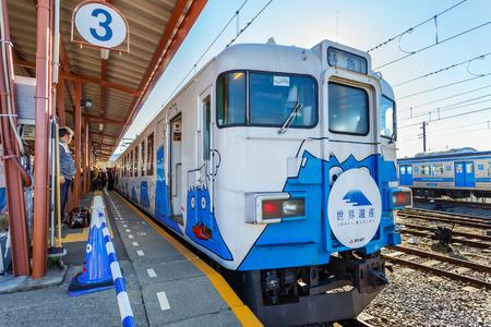 kawaguchi ko: FUJIKAWAGUCHIKO, JAPAN - NOVEMBER 23  Fujikyuko Line in Fujikawaguchiko, Japan on November 23, 2013  The only railway line to the Yamanashi, site of Mount Fuji