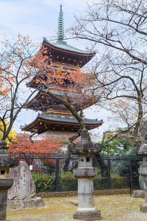 storied: Five Storied Pagoda of Kaneiji Temple at Ueno Park in Tokyo Editorial