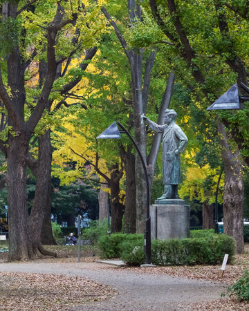 syphilis: TOKYO, JAPAN - NOVEMBER 25  Noguchi Hideyo Statue in Tokyo, Japan on November 25, 2013  A prominent bacteriologist who discovered the agent of syphilis as the cause of progressive paralytic disease