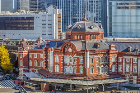 24 26: TOKYO, JAPAN - NOVEMBER 26  Tokyo Station in Tokyo, Japan on November 24, 2013  Open in 1914, a major a railway station near the Imperial Palace grounds and Ginza commercial district Editorial