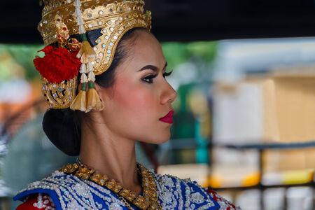 worshipper: BANGKOK, THAILAND - AUGUST 11  Thai Traditional Dance in Bangkok, Thailand on August 11, 2014  The Dance prepared by worshipper in return when prayers are answered by the Brahma
