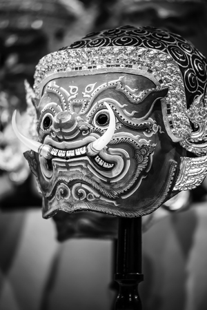 khon: Hua Khon  Thai Traditional Mask  Used in Khon - Thai traditional dance of the  Ramayana Epic Saga