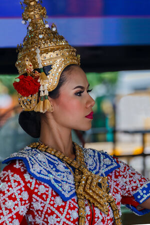phrom: BANGKOK, THAILAND - AUGUST 11  Thai Traditional Dance in Bangkok, Thailand on August 11, 2014  The Dance prepared by worshipper in return when prayers are answered by the Brahma