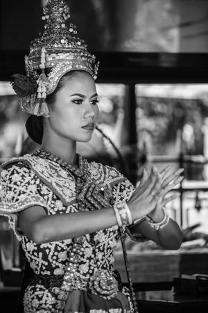 phrom: BANGKOK, THAILAND - AUGUST 11: Thai Traditional Dance in Bangkok, Thailand on August 11, 2014. The Dance prepared by worshipper in return when prayers are answered by the Brahma Editorial