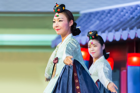 BANGKOK, THAILAND - AUGUST 29: Tamu in Bangkok, Thailand on August 29, 2014. Tamu comprises six sets of imperial court dance which performed to Korean Emperor in the past