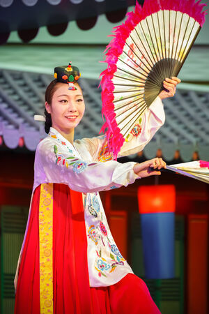 BANGKOK, THAILAND - AUGUST 31: Tamu in Bangkok, Thailand on August 31, 2014. Tamu comprises six sets of imperial court dance which performed to Korean Emperor in the past