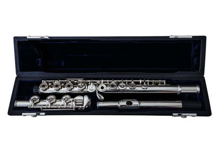 boehm flute: Isolated Modern Concert Flute Stock Photo