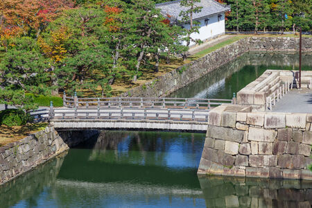 nijo: Moat and Bridge at Nijo Castle in Kyoto, Japan Editorial