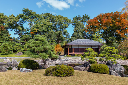 nijo: Seiryu-en garden and Teahouse at Nijo Castle in Kyoto, Japan